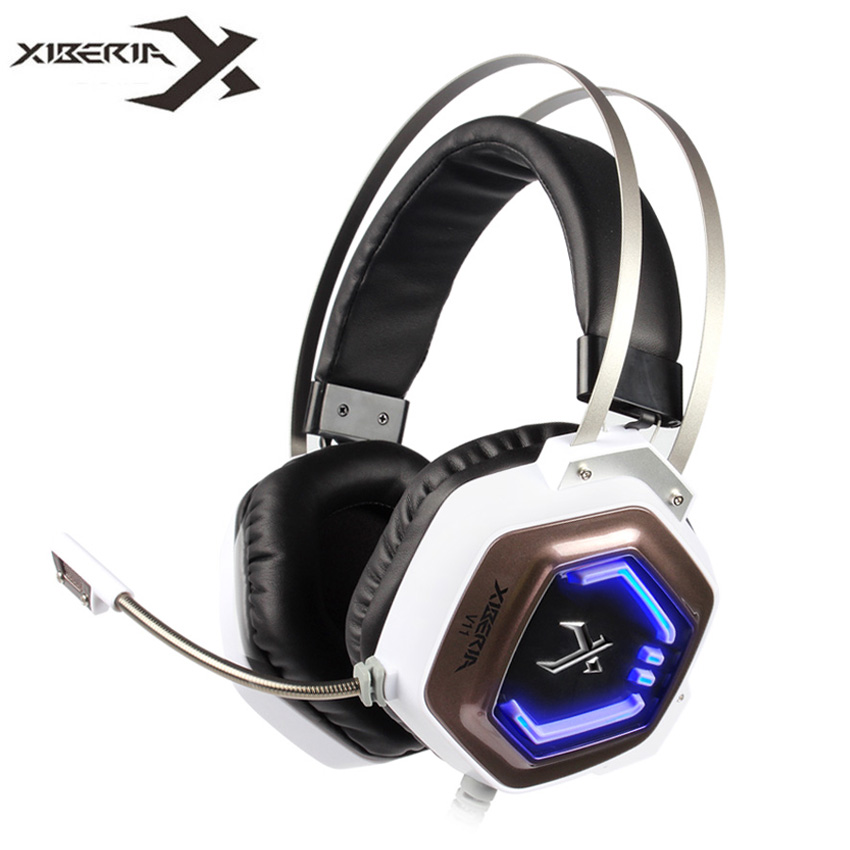 XIBERIA V11 USB Gaming Headphones with Microphone for Computer High Quality Over Ear Headset Gamer Led Lights for PC casque pro usb stereo gaming headphones headset for computer bass earphones xiberia x13 over ear pc gamer headset with microphone led