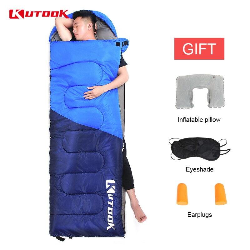 KUTOOK Warm Splicing Sleeping Bag Outdoor Sport Waterproof Thermal Sleeping Bag Comfortable Heated Lazy Bag Adult Winter Camping