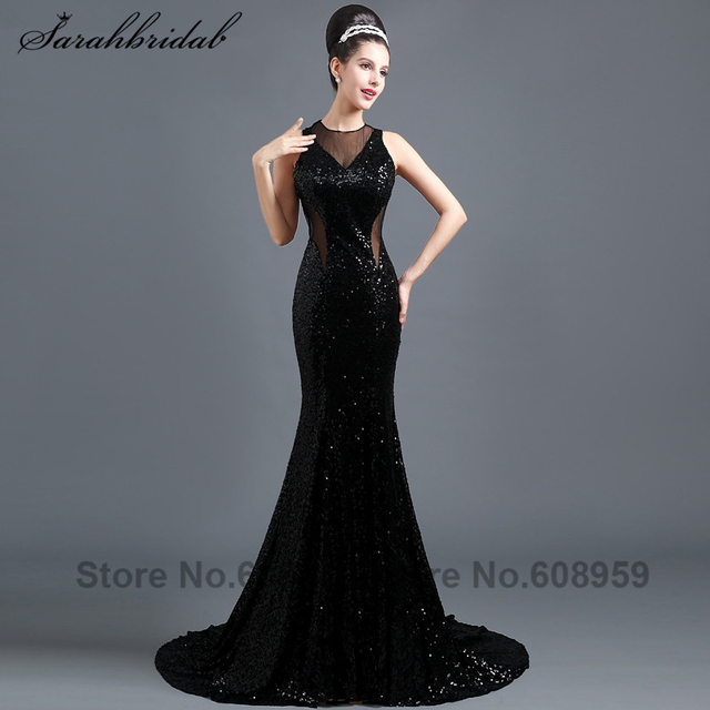 7f8be189d Sexy Cut Back Gold Sequined Mermaid Prom Dresses Sheer Black Long Party  Gowns Illusion Corset Vestidos De Noche SLD300
