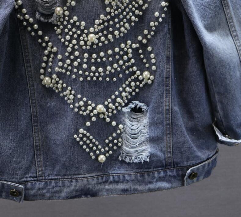 Mode Longues Manches 2018 Lourd Bleu Jeans Perle Manteau Coréenne Gloria Lady Streetwear Trou Denim Nouveau Femmes Veste Vestes À Fille Pvqwq5