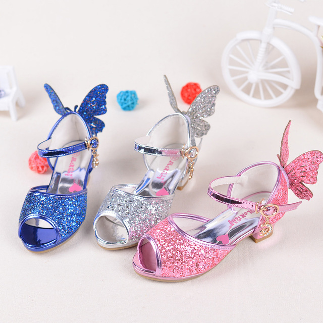 47f279d31af Toddler Baby Shoes Cute Butterfly Girls Sandals Kids Fashion Sequin Bling  Princess Sandals Girls Sequins Fantasy Gold High-heels