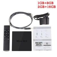 Mini MX TV Kutusu Android 5.1 Amlogic S905 Dört çekirdekli 2 GB RAM 16 GB ROM HDMI 2.0 2.4G WIFI 1000 M LAN H.265 Destek Miracast/DLNA