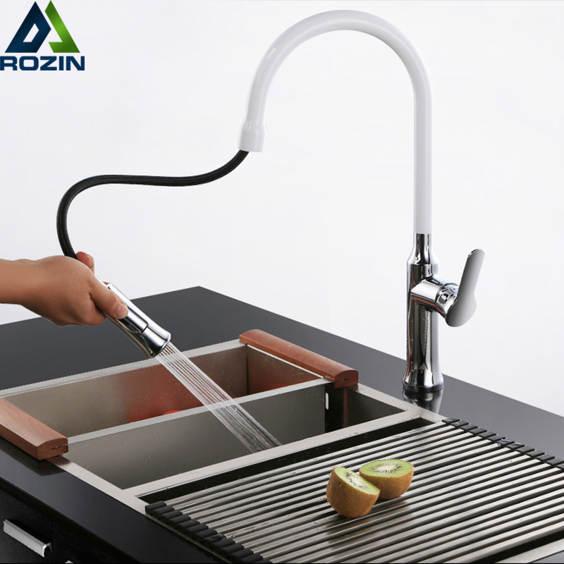 Kitchen Faucets White Single Handle Pull Out Kitchen Tap Single Hole Swivel 360 Degree Water Mixer Tap Bathroom Kitchen Crane