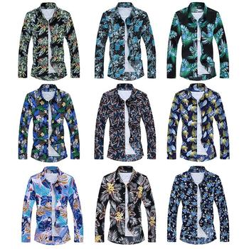 Long sleeve Hawaiian Style Casual Floral Mens Shirt Dress Camisa Social for Men Blouse Male Plus Size