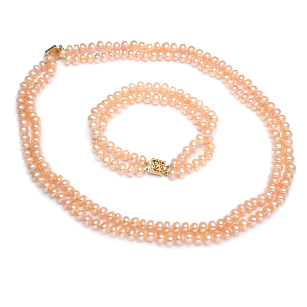 Pink Natural Cultured Freshwater Pearl Jewelry Sets Bracelet Necklace  Keishi 2strand 67mm