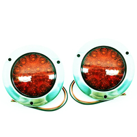 1 Pair 12 24V Red Round Reverse Brake Turn Signal Rear Tail Light 16 LED For