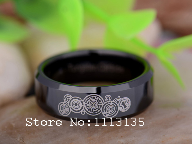 aliexpresscom buy hot sale the design of the supernatural 8mm black beveled doctor who time lord mens tungsten carbide wedding ring free shipping from - Dr Who Wedding Ring