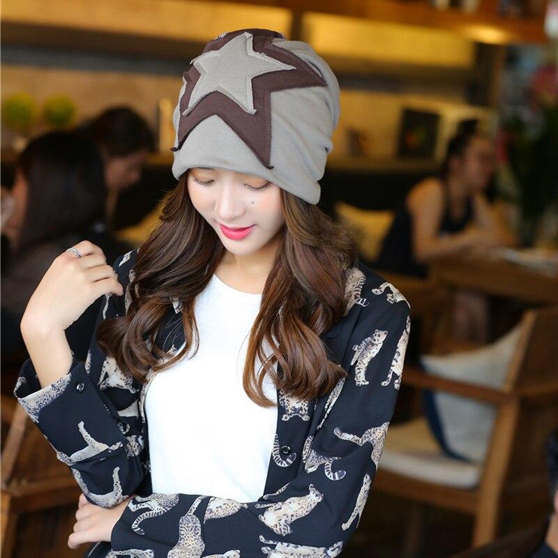 2016 Solid Five-pointed Star Women's Hats Female Men's Winter Hat  Khaki Beanies Gorros Hip Hop Cap Bonnet Acrylic Touca