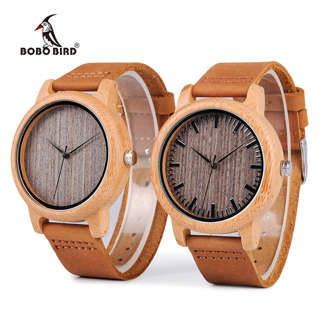 BOBO BIRD WA18L10 Vintage Lightweight Round Bamboo Wood Quartz Watches With Leat