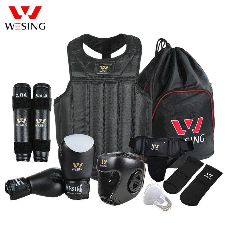 Wesing Martiaux Arts Gear Wushu Sanda Protecteur Ensemble 8 pcs Sanda Équipement de Compétition pour La Formation