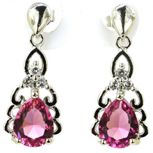 Long Big Pink Tourmaline, White CZ Ladies Wedding Party 925 Silver Earrings Gift 66x23mm