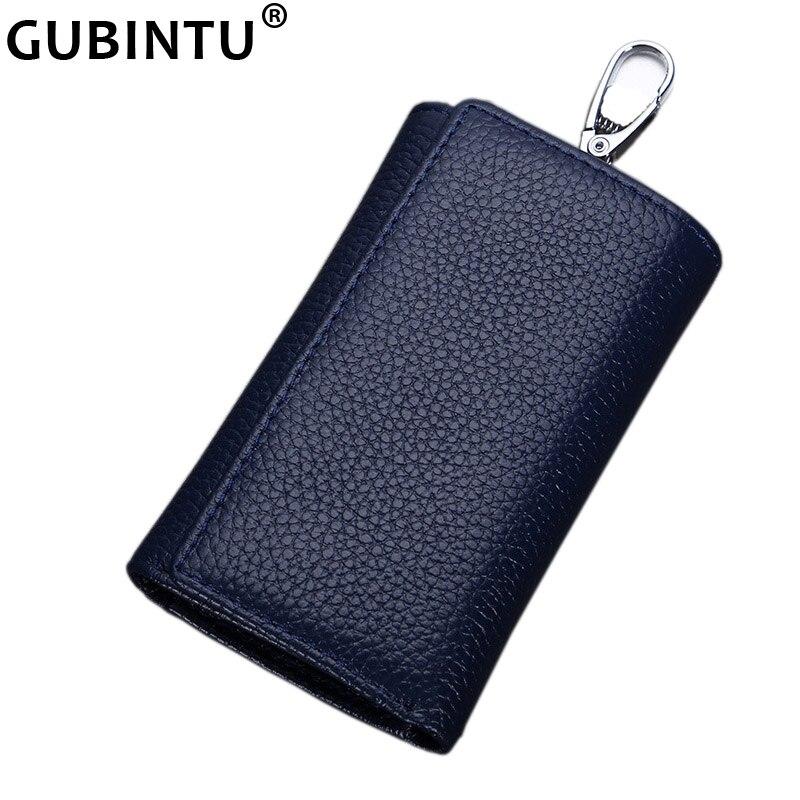 GUBINTU Multifunctional Genuine Leather Men Key Bag Wallet Keychain Three Fold Bag Men Key Holder Housekeeper Keys Organizer