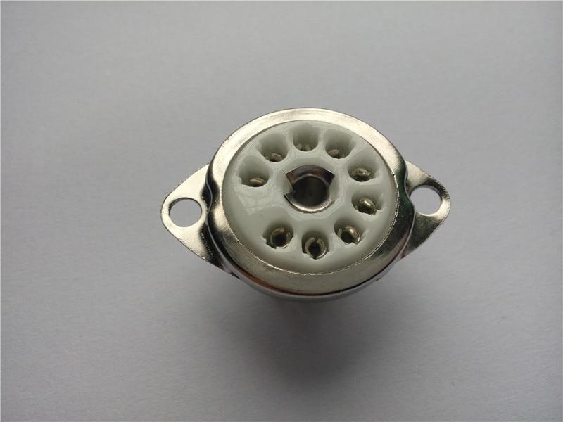 12pcs ceramic tube socket Small 9 pin scaffolding GZC9-C tube holder for 12au7 12ax7 2pcs ceramic tube socket gzc7 c g tablet 7 pin golden foot for 6c33 fu29 fu19 fu32 fu30
