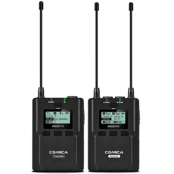 CoMica CVM-WM200C Pro Wireless Metal Microphone 1 Transmitter 1 Receiver 120M Recording for DSLR Camcorder Video by Batteries