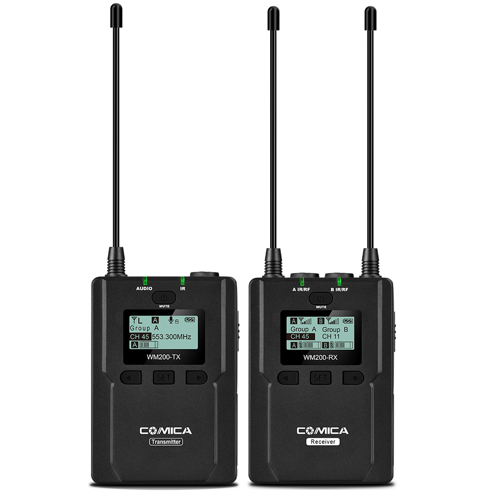 CoMica CVM WM200C Pro Wireless Metal Microphone 1 Transmitter 1 Receiver 120M Recording for DSLR Camcorder Video by Batteries