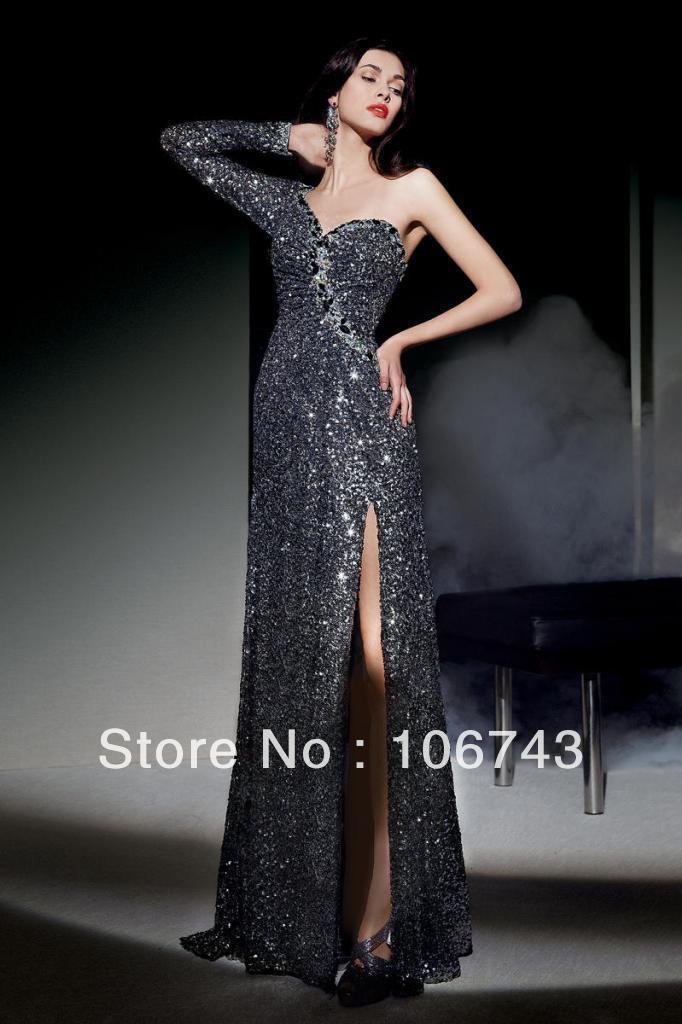 Livraison gratuite 2018 noir or broder une manche gris paillettes dentelle longue fête robe de bal robe de noiva robes de demoiselle d'honneur