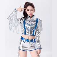 Women Jazz Dance Clothes Cheerleading DS Sequined Tassels Adult Hip Hop Costume