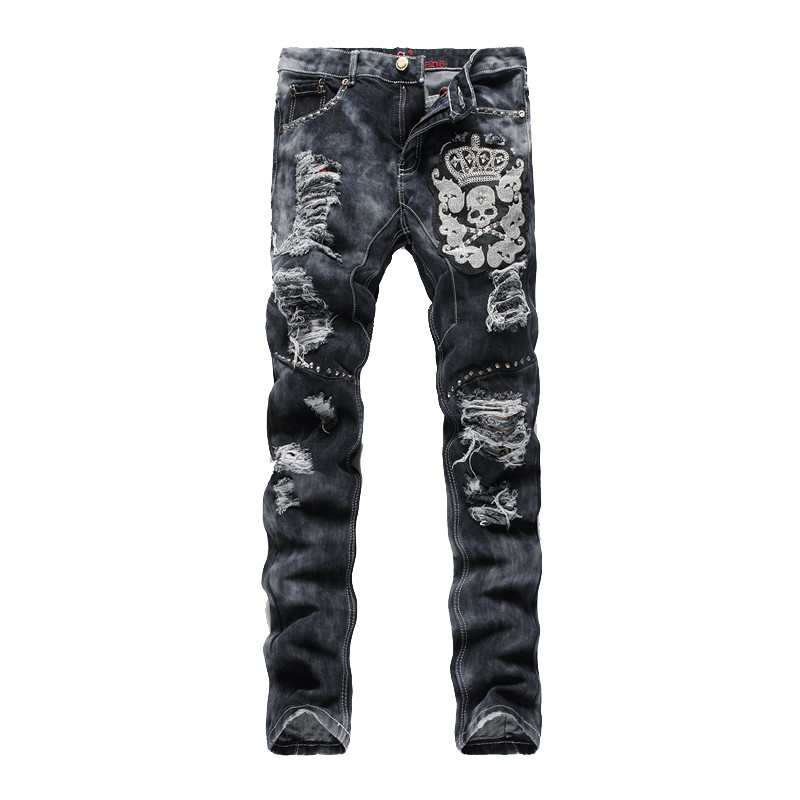 ABOORUN Punk Mens Skull Embroidery Straight Jeans Vintage Ripped Slim fit Jeans Fashion Mens Jeans  Z1221