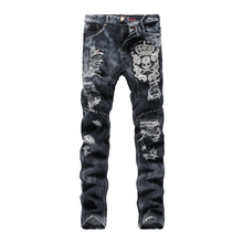 Punk Mens Skull Embroidery Straight Jeans Vintage Ripped Slim fit Jeans Fashion Mens Jeans  Z1221