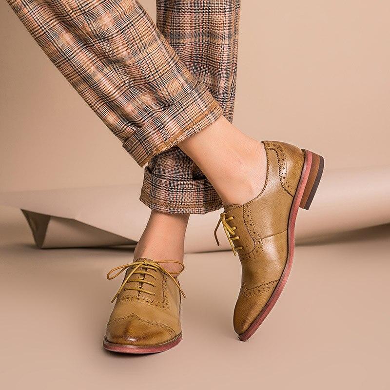 BeauToday Brogue zapatos mujer cuero genuino punta redonda buena calidad piel de oveja señora pisos Wingtip zapatos hechos a mano 21409-in Zapatos planos de mujer from zapatos    3