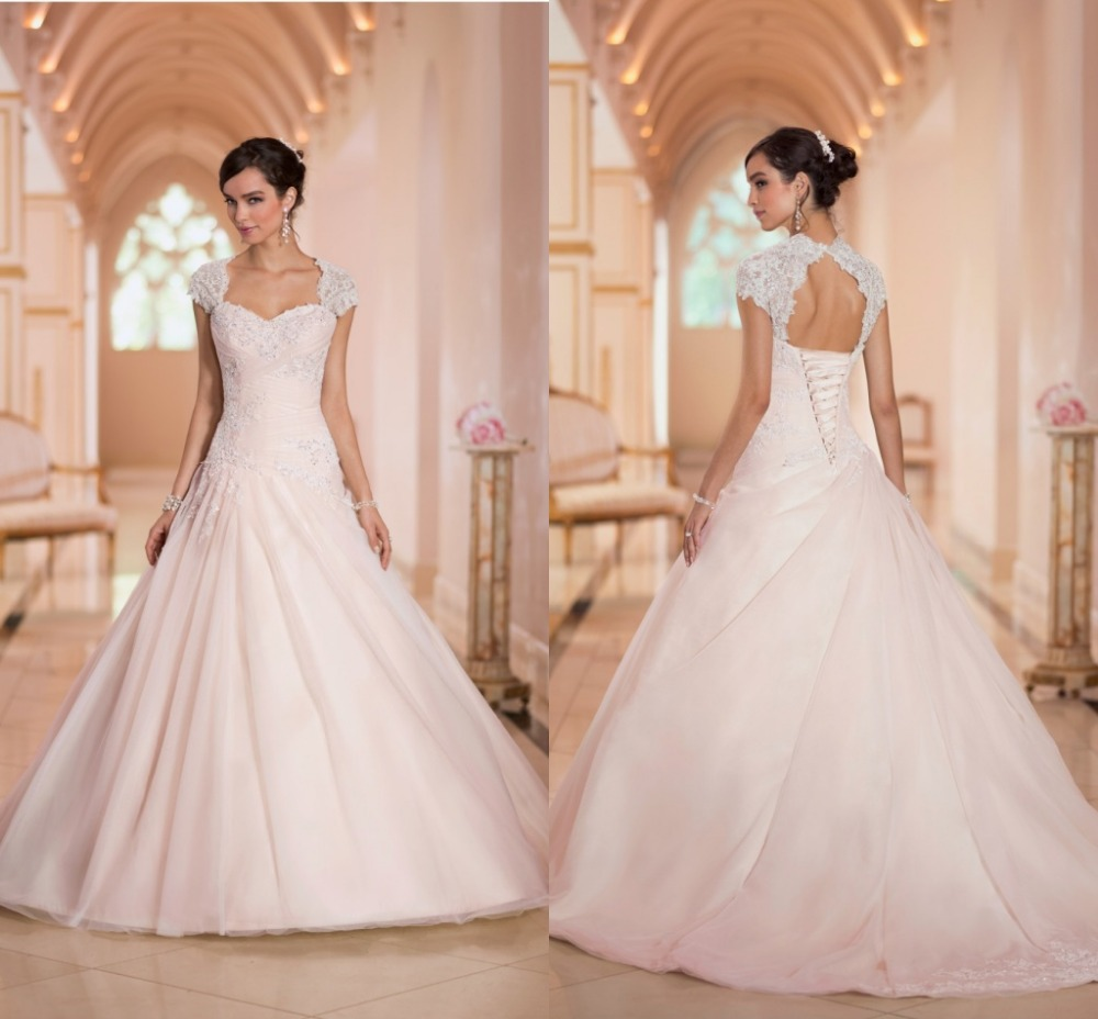 2016 elegant cap sleeves lace up back sweetheart a line for Wedding dresses with lace up back