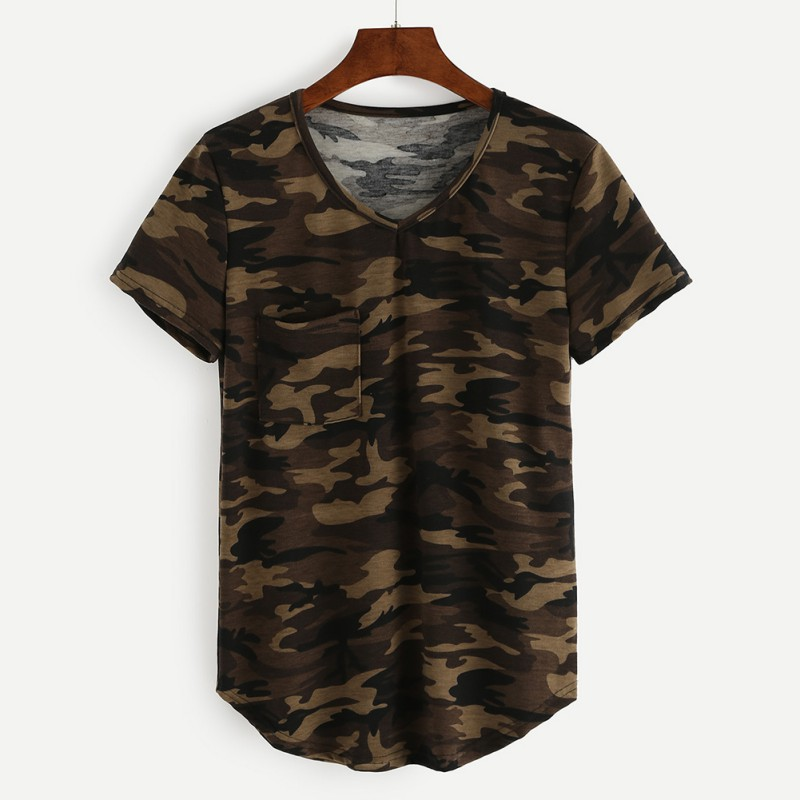 2019 Summer Vogue Women Loose Short Sleeve V-neck Camouflage Military Tee Ladies Casual Cotton Wild Activity Crops Top T-Shirt