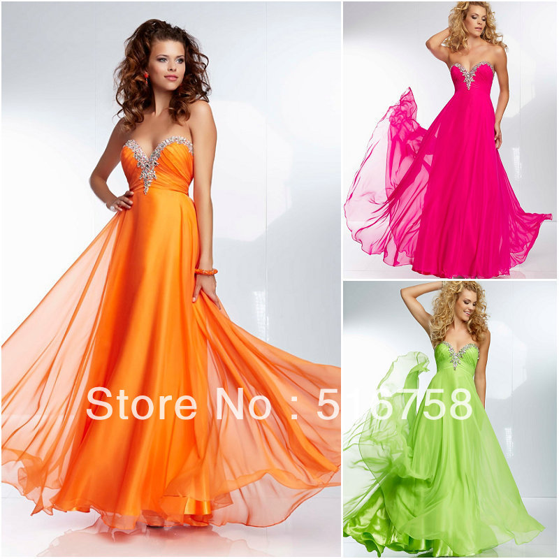 Beaded Sweetheart Bright Coloured Flowing Floor Length