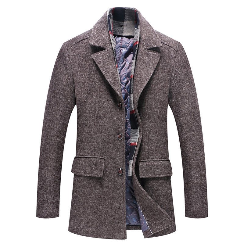 New Winter High quality Men's Wool Jacket Coat Fashion Business Thicken Woolen Trench Coat Male Detachable Scarf collar Overcoat