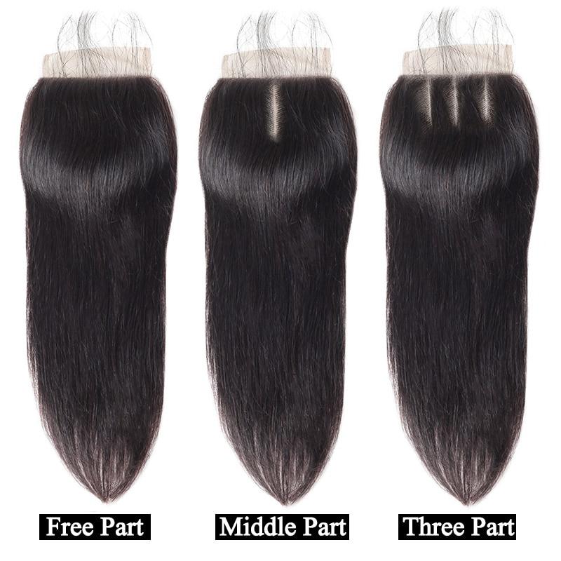 Meetu Malaysian Straight Hair Bundles med Lukke 3 Bundler Med Lukke - Skønhed forsyning - Foto 4