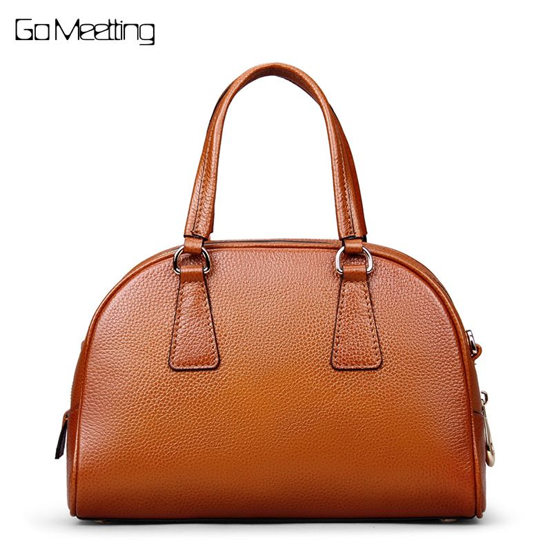 Go Meetting Brand Genuine Leather Women Handbags Tote High Quality Cowhide Ladies Shoulder Bag Vintage Half Moon Messenger Bags bullcaptain high quality genuine leather vintage women messenger shoulder bag ladies floral cross body bags brand mini tote