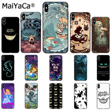 Maiyaca Alice In Wonderland Kucing Tpu Hitam Ponsel Case Penutup Shell UNTUK iPhone 11 Pro X XS Max 66S 7 7 Plus 8 8 PLUS 5S XR(China)