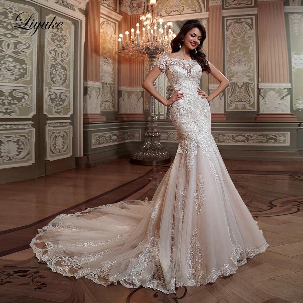 Liyuke Square Neckline Mermaid Wedding Dress Empire Appliques Lace Court Train With Short Sleeve Bridal Dresses