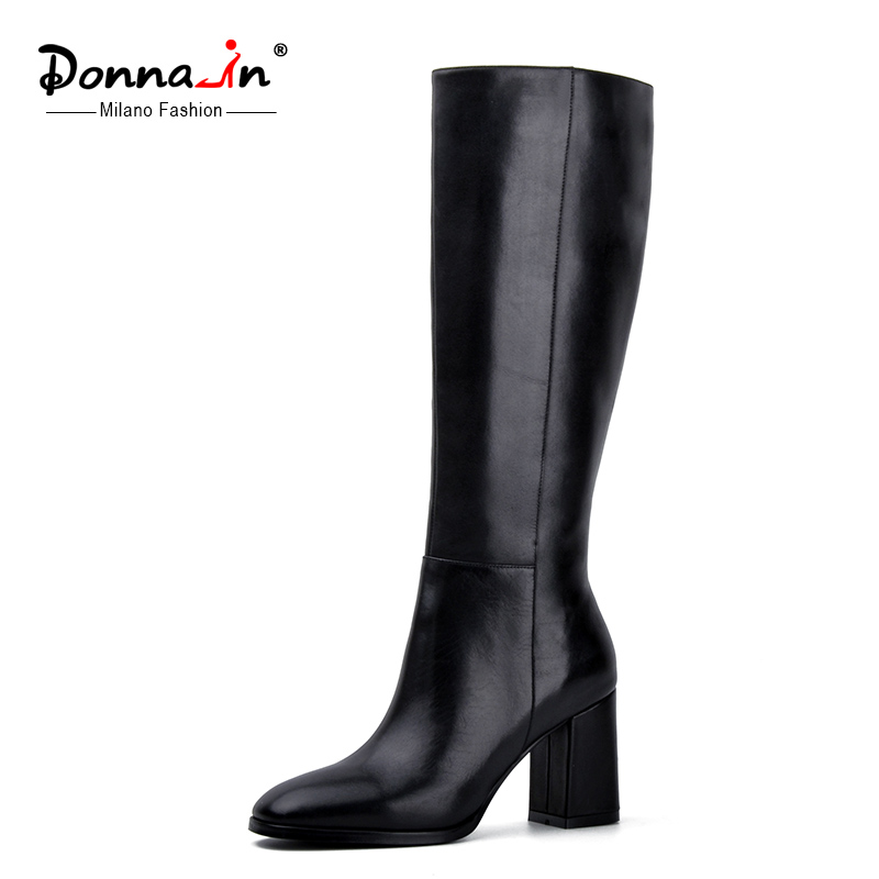 Donna in elegant square toe high boots genuine leather women boots thick high heel ladies shoes