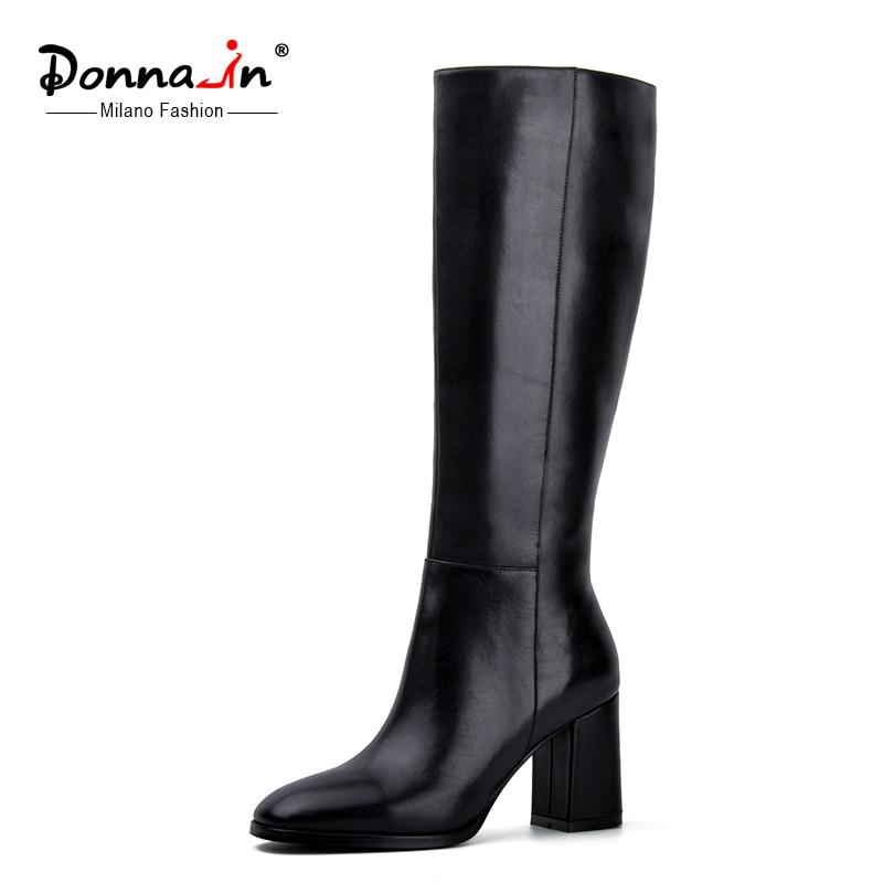 Donna-в с квадратным носком высокие сапоги натуральная кожа Женские ботинки на Высоком толстом каблуке