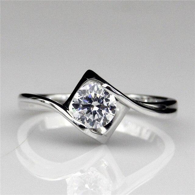 0.6CT Round Moissanites Lab Grown Diamond Square Shape Solitaire Design Test Positive Diamond 9k White Gold Engagement Ring