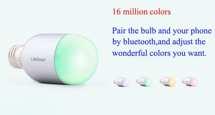 11--Lifesmart High Quality Smart Bluetooth Lamp E27 Wireless Remote Control 160 Million Colors Dimming for Home Automation