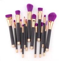 15Pcs Purple Makeup Brush Soft Hair Makeup Brush Pro Cosmetic Blending Contour Eyebrow Foundation Kabuki Makeup