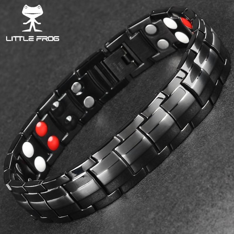 Pequeña rana Punk pulsera de la energía sana hombres negro cadena enlace brazalete pulseras magnéticas del acero inoxidable
