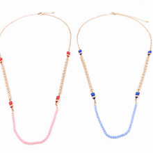 Blue beads triangle necklace
