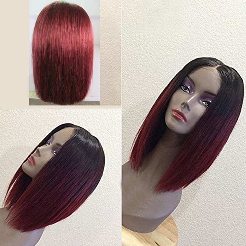 LUFFYHAIR Ombre Bob Lace Front Wigs Brazilian Straight Lace Front Wigs Short Bob Two Tone Color 1b#T99j Remy Hair Wigs