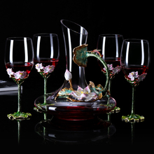 Europe enamel red wine glass cup Retro Lotus goblet Lead-free crystal cups champagne glasses Wedding home drinkware