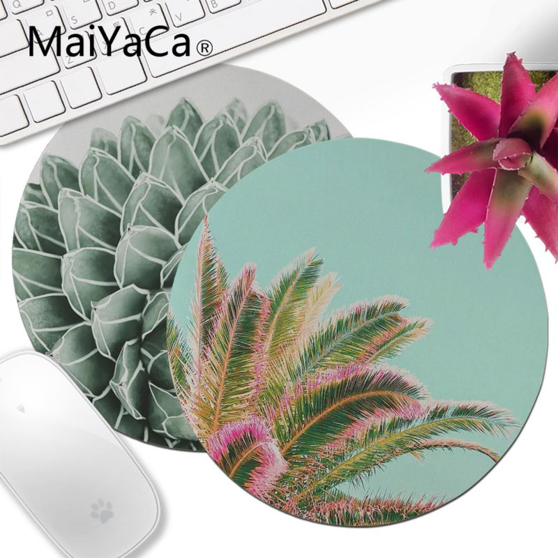 MaiYaCa Succulent Splendour Comfort Round Mouse Mat Gaming Mousepad Computer Mouse Pad Anime Best Mats For Gamer Gift Desk Mat