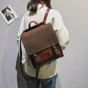 Image 2 - Vintage Puหนังผู้หญิงกระเป๋าเป้สะพายหลังPreppy Styleกระเป๋าเป้สะพายหลังผู้หญิงกระเป๋าแฟชั่นกระเป๋าเป้สะพายหลังผู้หญิงกระเป๋าMochilas