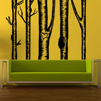 POOMOO Wall Papers Wall Room Decor Sticker Mural Decal Birch Tree Set Love Heart Big Large