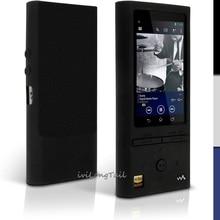 ZX100 силиконовый чехол + Экран протектор для Sony Walkman NWZ ZX100 NW-ZX100 чехол ZX 100 Резина Гель для Кожи, Чехол Фильм Черный