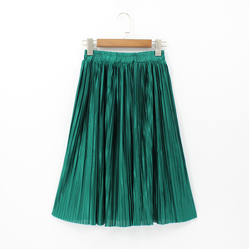 Women Silk Feeling Casual Skirt Summer Knee-length Pleated Skirts Saias Midi Faldas Retro Women Midi Skirt Юбка