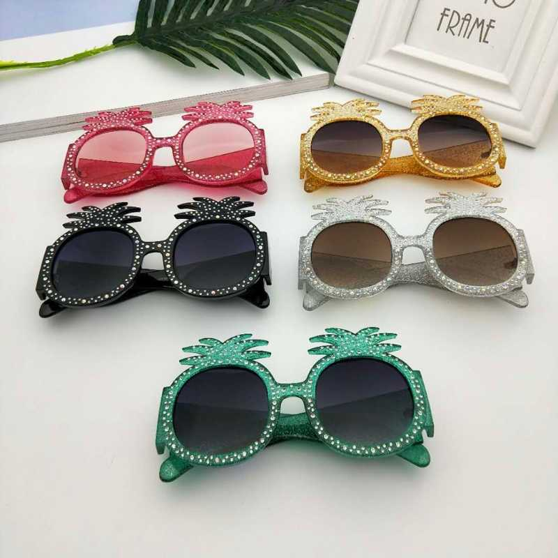 Pineapple Oversize Women's Oval Sunglasses Rhinestone Decor UV400 Party Eyewear