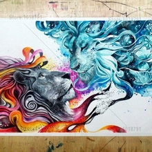 5d Diy Diamond Painting Colour Lion Wall stickers mosaic Cross Stitch embroidery Home Decoration Needlework