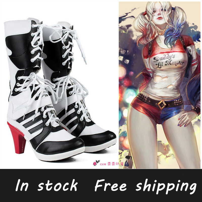 New Red Stripes High heels Harley Quinn Ankle boots Suicide Scuad cosplay shoes any size