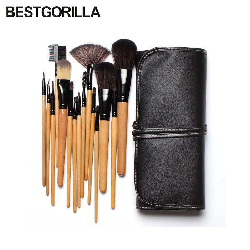 Best quality fast shipping 15 pcs Soft Synthetic Hair make up tools kit Cosmetic Beauty Makeup Brush Black Set with Leather Case professional brush 24pcs soft synthetic hair make up tools kit cosmetic beauty makeup brush black sets with leather case